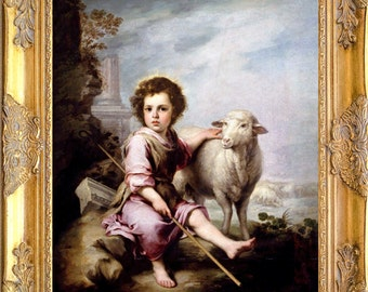 The Good Shepherd with Lamb Art Print, Framed, Murillo, Print on Canvas