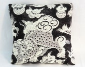 "Black and White Dragon Pillow Cover, Waverly Oriental Dunmore Dragons Orchid, Cover Only, 17"" Square Cushion, Ready to Ship"