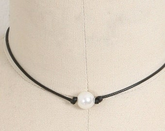Single Pear Necklace, Leather Knotted Freshwater Pearl Necklace,Freshwater Pearl Necklace,Choker