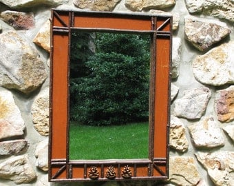 Twig and Pinecone Mirror in Burnt Sienna Crackle Finish