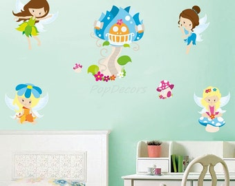 Girls Room Wall Stickers Baby Girls Wall Decors Children Stickers - Fairies - Just Peel and Stick Removable Stickers prt0075