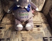 Stuffed Hippo Birth Announcement Baby Cubbies Hippo Baby Gift Toddler Gift Big Brother Gift Personalized Stuffed Hippo