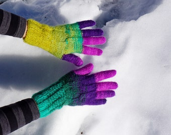 Thin knitted multicolored alpaca gloves with a long fingers in yellow, green, violet and pink, BestKnits