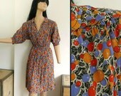 Vintage 70s 'Chelsea Girl' Tea Dress - 30s 40s Style Dress Novelty Fruit Berry Print