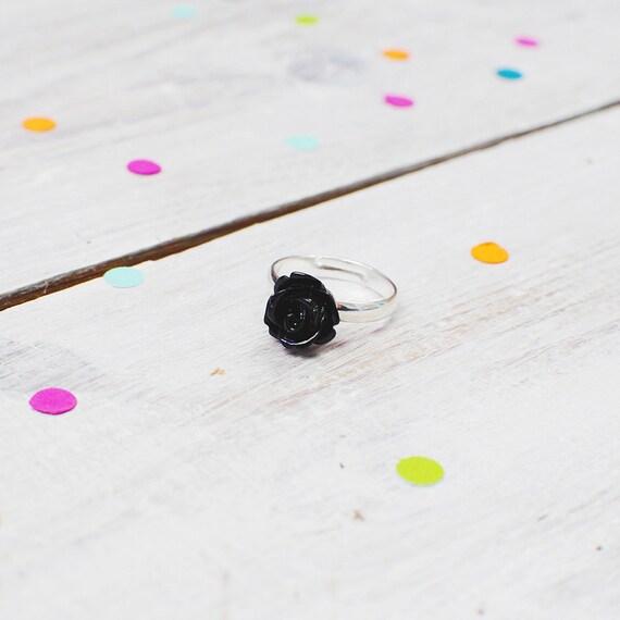 Black Rose Flower Ring | Adjustable | Nickel Free