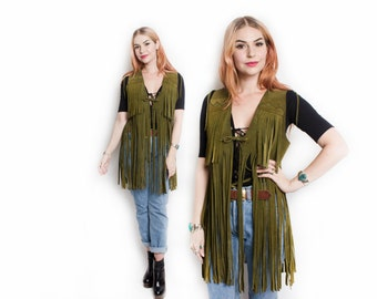 Vintage 1960s Leather Vest - Green Suede FRINGE Boho Hippie Top 60s - Small