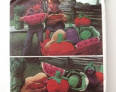 1970s Stuffed Fruit and Vegetable Toy Pattern Vogue 1566 Cabbage, Watermelon, Tomato, Asparagus, Eggplant, Peanut, Sewing Pattern UNCUT