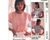 1980s Plus Size Blouse Pattern McCalls 3617 Womens Pullover Top Sewing Pattern, Tucks, Cap Sleeves, Suit Blouse, Size 20-24 Bust 42-46 UNCUT