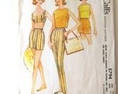 1960s Bra Top Shorts Top Pants Pattern McCalls 5794 Womens Bathing Suit Sleeveless Top Cigarette Pants Beachwear Pattern Size 16 Bust 36