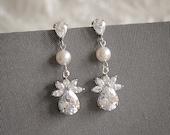 Crystal Wedding Bridal Earrings, Swarovski Pearl Bridal Earrings, Modern Vintage Style Flower Dangle Stud Earrings, Statement Jewelry, CARIS