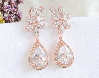 Rose Gold Wedding Earrings, Crystal Bridal Earrings, Flower Dangle Drop Earrings, Old Hollywood Style Bridal Wedding Jewelry, DARALIS