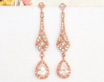 Bridal Earrings, Wedding Earrings, Crystal Teardrop Dangle Earrings, Vintage Style Stud Earrings, Old Hollywood Bridal Jewelry, TRISSIE