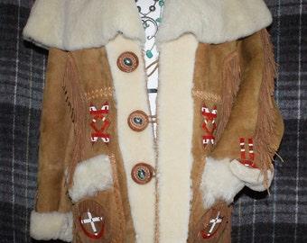 Vtg 1970s Sheepskin Jacket Bead Work Fur L/XL Size