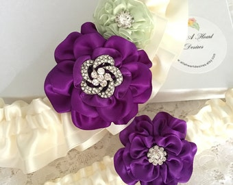 Wedding Garter Set in Purple and Light Celedon Green Ross on Ivory, Bridal Garter with Flowers and Rhinestones, Gift Boxed