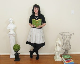 Pride and Prejudice skirt in black and white with black accents made to your measurements also in plus size