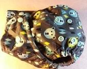 SassyCloth one size pocket cloth diaper with Alpine bears PUL print. Ready to ship.