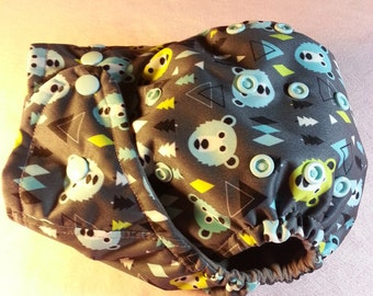 SassyCloth one size pocket cloth diaper with Alpine bears PUL print.  Made to order.