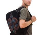 Black Backpack For Laptop Canvas Backpack Mens Womens Backpack, 3D Art, Dmt Inspired, Psychedelic Backpack, Music Festival