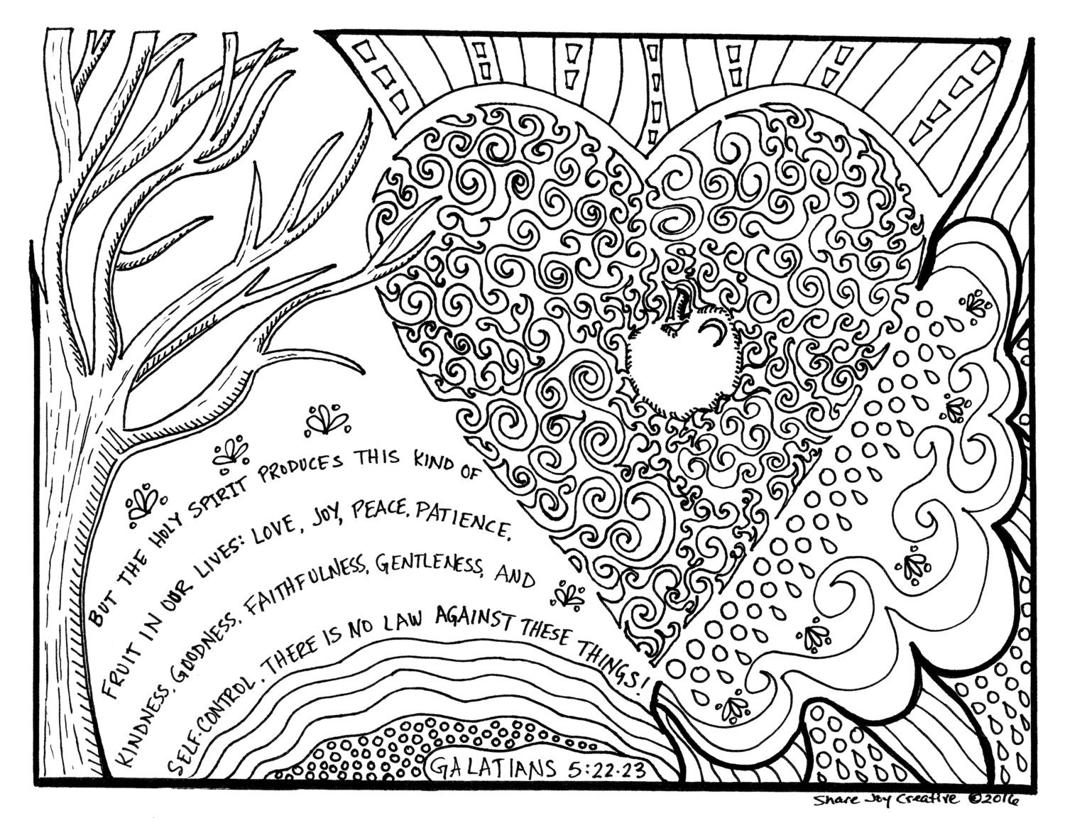 The fruit of the holy spirit coloring page for Gifts of the holy spirit coloring pages