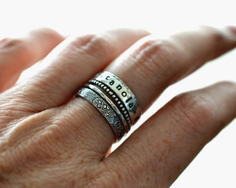 Stackable name ring, silver stacking rings, set of 5 rings, memorial rings, personalized ring,  gift for her