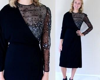 vtg 80s black ASYMMETRICAL sequins COCKTAIL DRESS xs illusion lbd avant garde party statement trophy nye