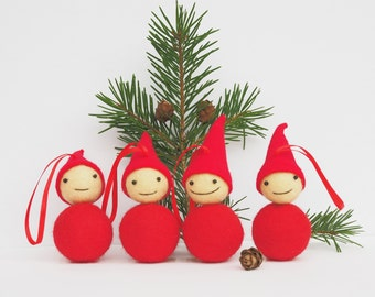 Holiday Ornament. Christmas Tree Ornament. Scandinavian Christmas Decoration. Felted Elf Retro Christmas Stocking stuffer. Set of 4 gnomes