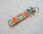 Key Fob - Key Chain - Fabric Key Fob - Cute Key Fob - Orange Print
