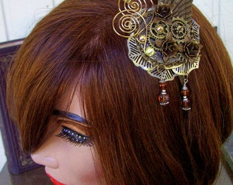 Fascinator (F605) - Bronze Wings and Gears - Brass Headband - Brass Wire and Crystal Dangles - Swarovski Crystals