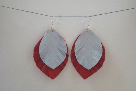 Leather earrings,dangle earring,feather earrings,red earrings,long earrings,leather dangle,leaf leather,leather jewelry,leather drop,pastel