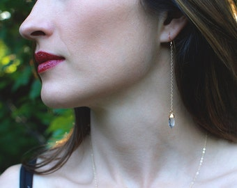 Gold Capped Quartz Point Earrings - Dangle Earrings - Minimalist Jewelry - Boho Earrings - Gemstone Jewelry - Statement Earrings