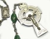 Green Glass Bead Prayer Necklace Celtic Cross Vintage Rosary, Irish Rosary, St. Patrick Medal, religious, religion, St. Patrick rosary, old