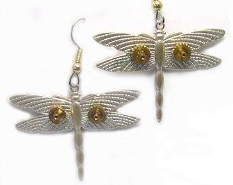 Unique Handmade Upcycled Repurposed Dragonfly Steampunk Earrings, dragonfly earrings, earrings with dragonflies, silver, gold, watch parts