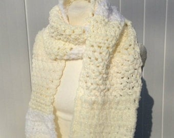 Super Scarf Extra Long Scarf Shades of White and Cream Crochet Oversized Handmade  Soft and Fluffy