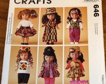 """McCall's 646 7395 13"""" Girl Doll Clothes, Kenya Growing Up Proud, Dress Hat Top Skirt Pants Vintage Crafts Sewing Pattern Uncut Factory Folds"""