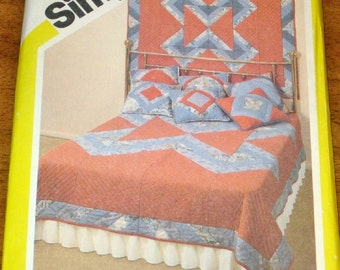 Simplicity 5131 Strip Quilt, String Quilted Pillow Top, Wall Hanging Vintage 1980s Marjorie Puckett Craft Sewing Pattern Uncut Factory Folds