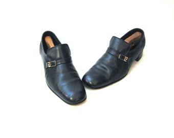 70s Black Shoes Black Leather Shoes Mens Black Shoes Black Leather Slip On 1970s Loafers Shoes Made in England Black Slip Ons Black Loafers