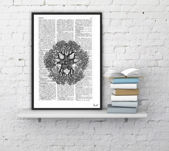 Vintage Book Print Dictionary or Encyclopedia Page Print- Book print Black Starfish illustration Vintage Design Print on Old Book BPSL098