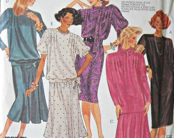 McCall's Dress, Top, Skirt, and Scarf Pattern, Petite-Able, Size 12, Factory Folded Uncut, Vintage 1987