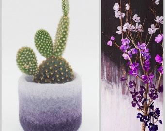 Felt succulent vase / Flowers / felted planter / cactus vase / Ombre Purple / housewarming gift / gift for her