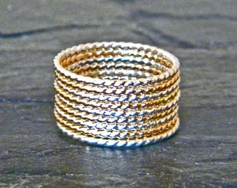 Silver and Gold Ring - Dainty Stacking Ring - Dainty Gold Ring - Stacking Ring Sets - Thin Stacking Rings - 14K Gold Fill - Large Ring