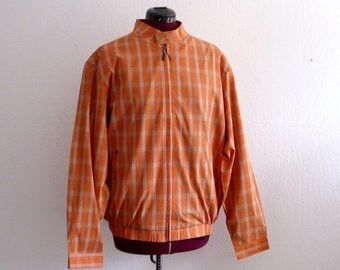 Sale 30% off Mens Bomber Jacket Orange Checkered Windbreaker