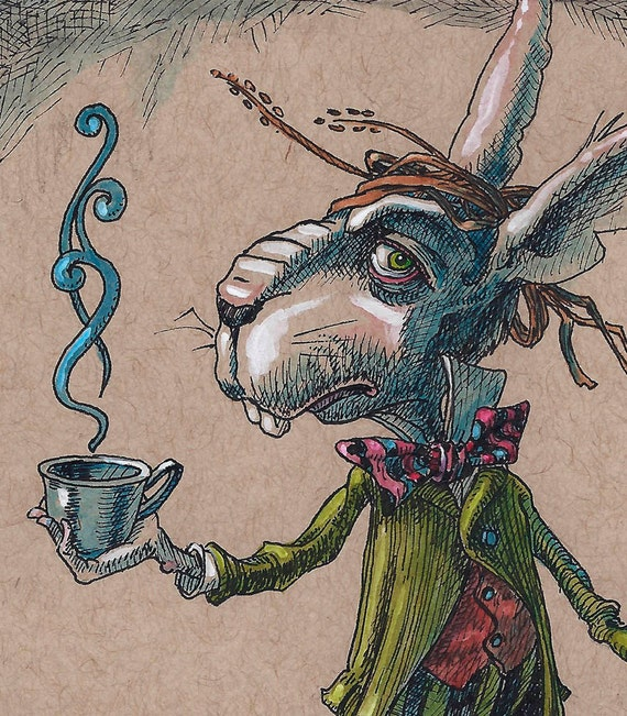 March Hare Alice In Wonderland: March Hare Original Print On Plaque Alice In By TomSarmo
