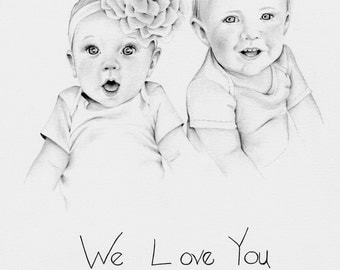 Father's Day Gift Custom Portrait Personalized Gifts Dad Custom Siblings Portrait Hand Drawn Pencil Portrait from Photograph Art for Daddy