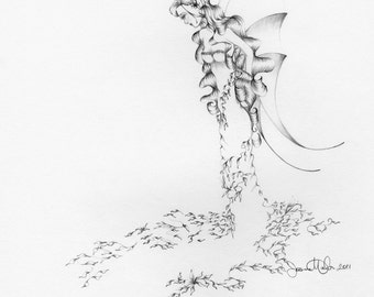 Fairy Drawing Fairy Art One of a Kind Hand Drawn Fantasy Work of Art Inspirational Fairy Home Decor Black and White Wall Art Whimsical Art