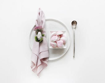 Dusty rose linen tablecloth, linen table napkins set or linen table runner, Edged table linens, Neutral light pink table linens