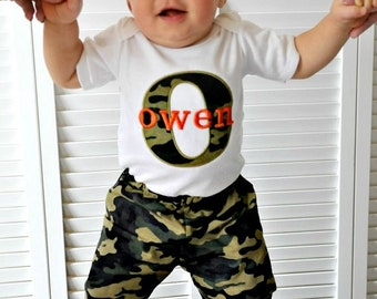 Baby Boy Clothes Personalized Baby Boy Outfit Monogram Baby Boy Camo Bodysuit and Pants Baby Outfit Newborn Boy