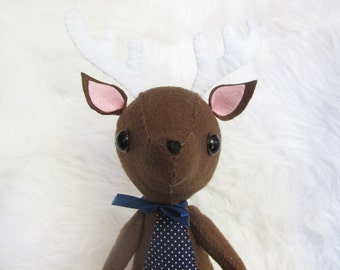 Large Brown Felt Plushie Reindeer with Blue and White Polka Dots on Tummy and Horns