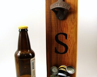 "wall mount bottle opener cast iron cedar magnet cap catcher initial ""S"""