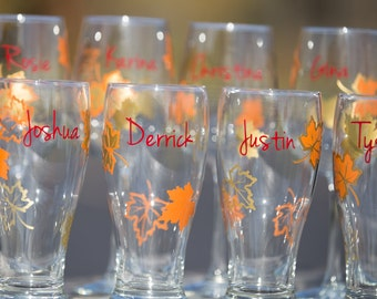 Fall wedding party wine glass, gold and burnt orange leaves, fall theme wine glass, Bridesmaids and Groomsman gift