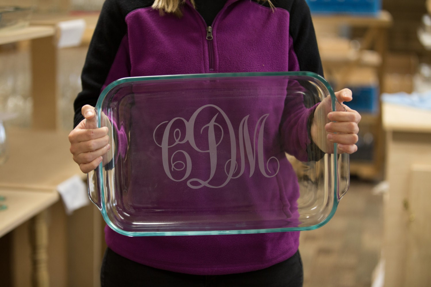 Christmas Gift For Bride To Be. Personalized Etched Casserole